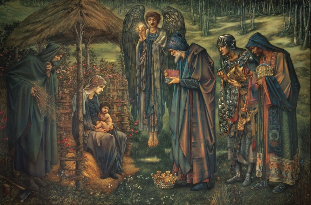 The Star of Bethlehem, 1887-1891. Sir Edward Burne-Jones *Nativity scene. To the left, Joseph, Mary and the infant Christ to the right, the three kings, Balthazar, Melchior and Gaspar. Commissioned by the Corporation of Birmingham, 1887, and purchased through the Art Gallery Purchase Fund, 1891.