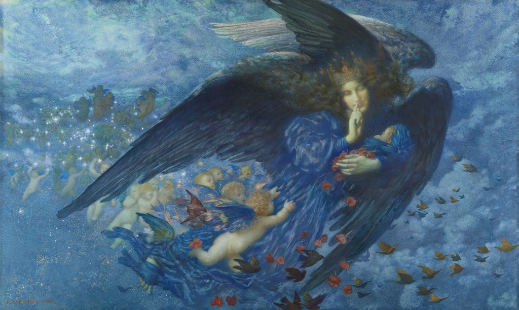 angel in blue dress painting