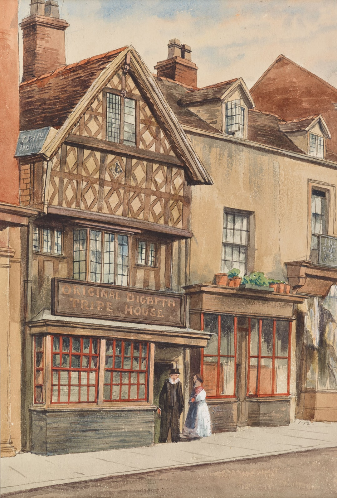 Original Digbeth Tripe House, Birmingham. By Allen Edward Everitt (1824-1882) * View of Well Street, Digbeth, Birmingham