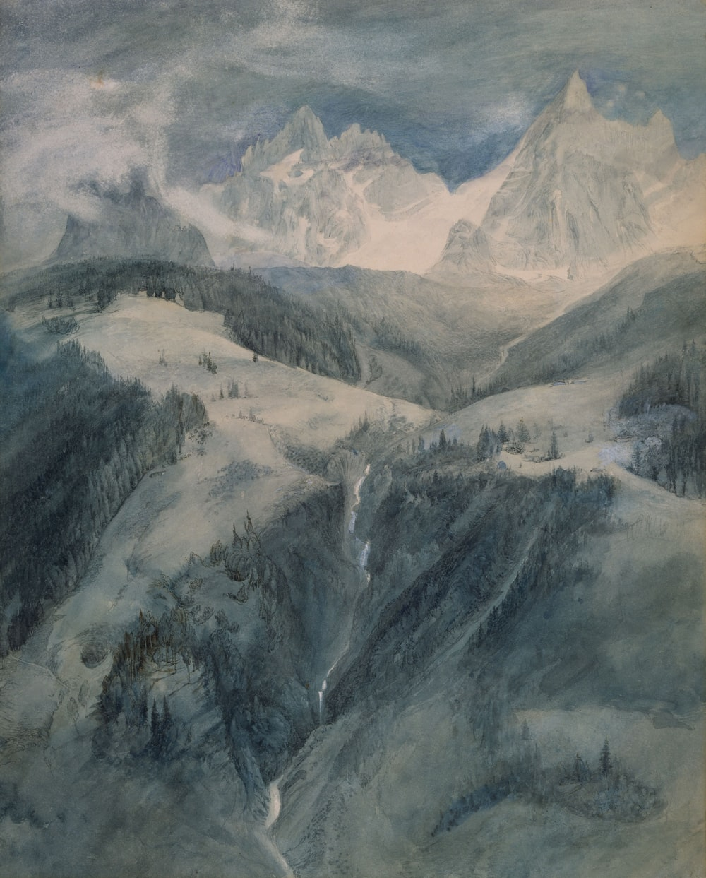 painting of icy mountain