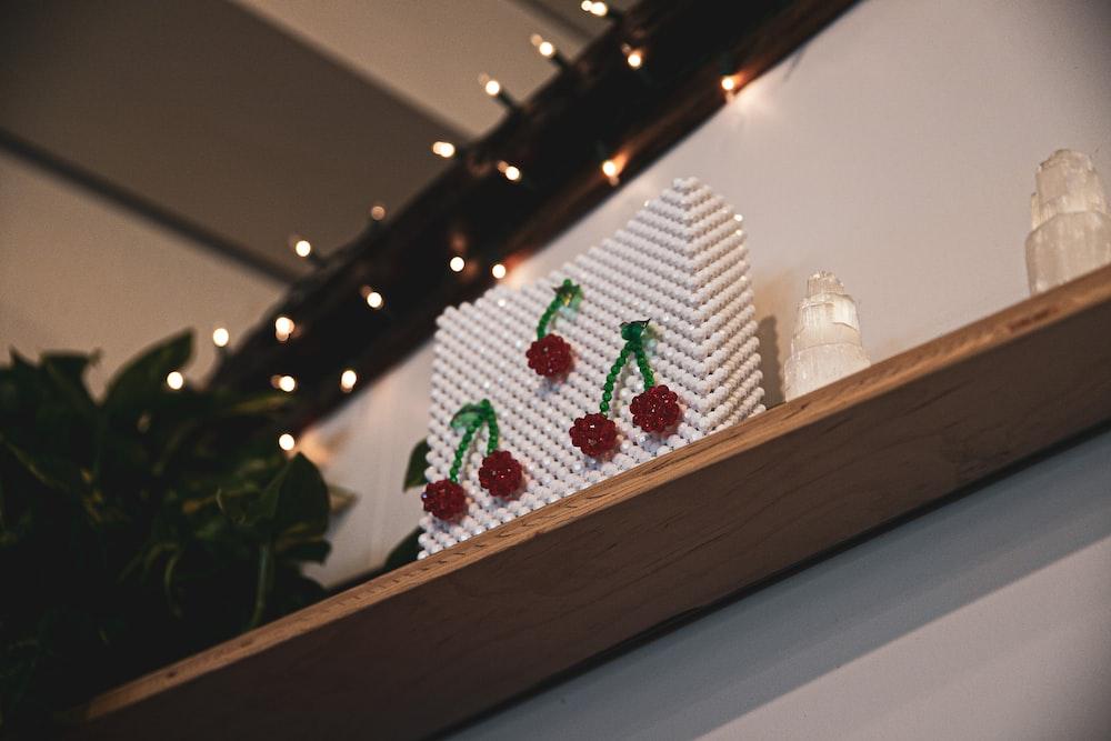 beaded decor on shelf