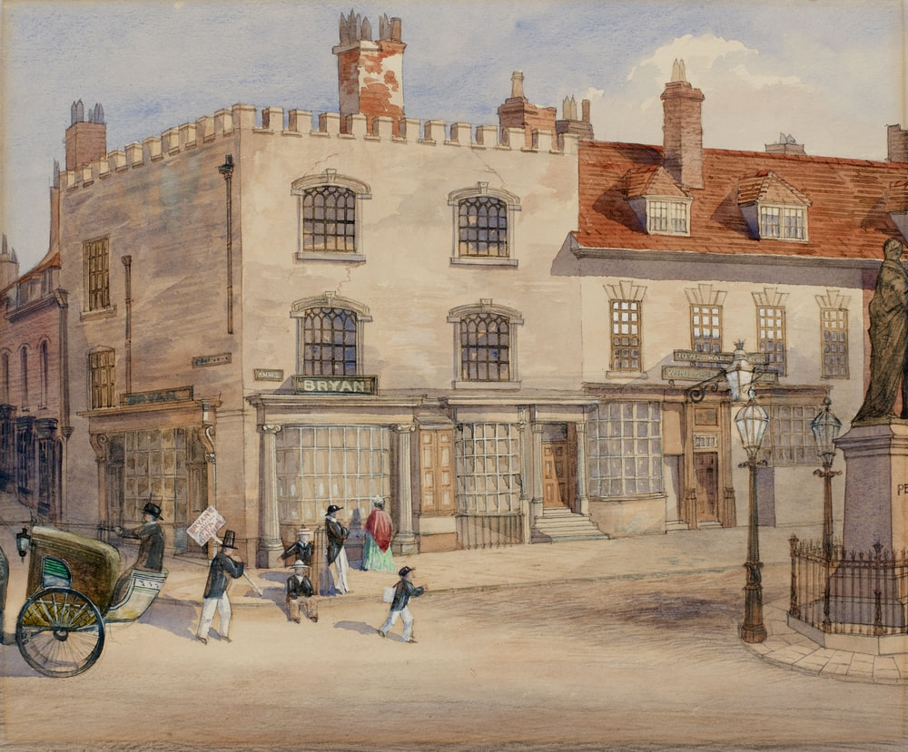 painting of gra yand brown building