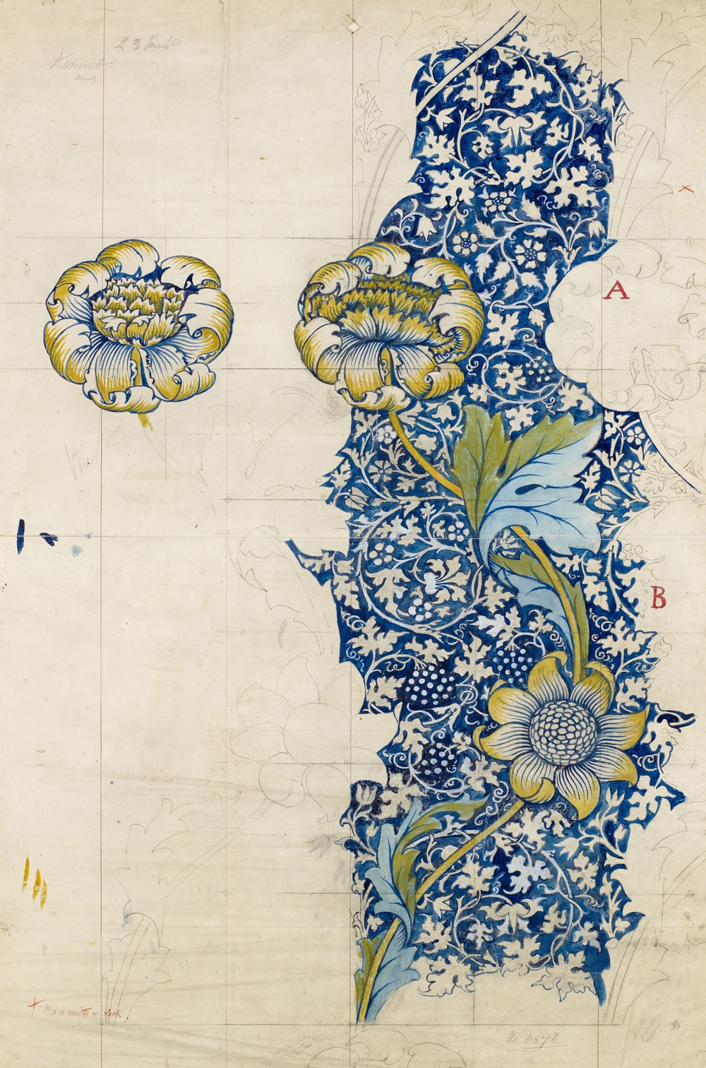 white and blue floral textile