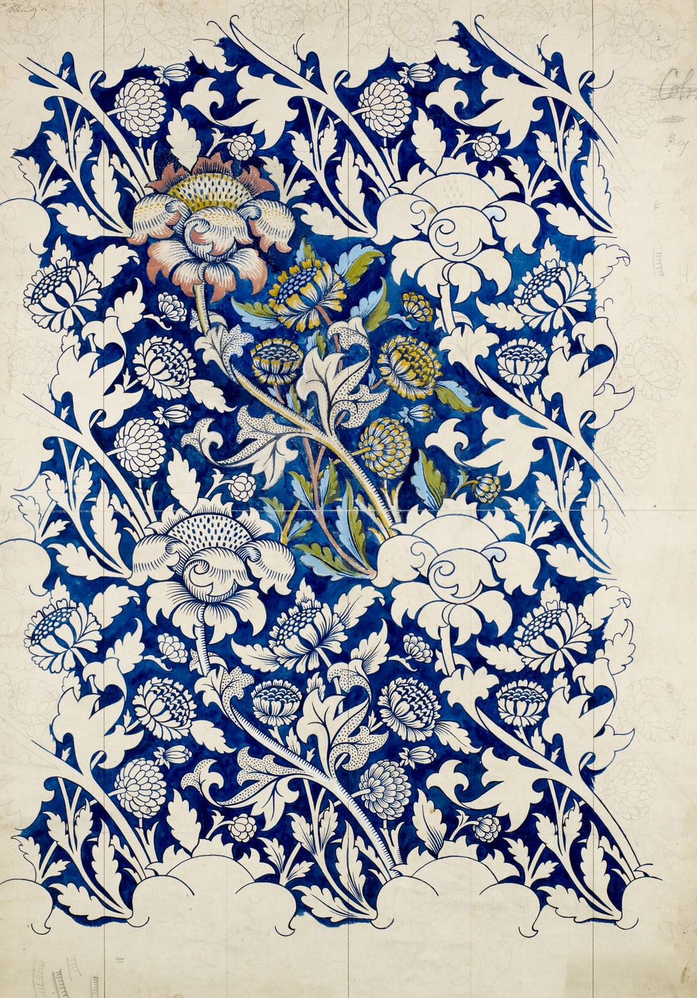 blue and white floral logo