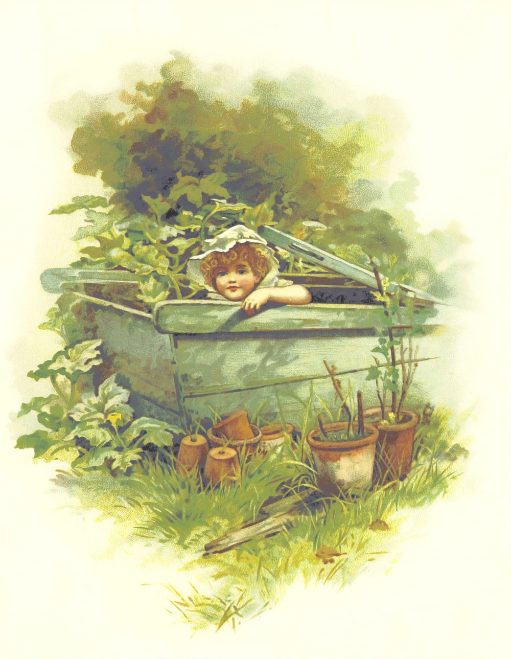 girl in green wooden basket