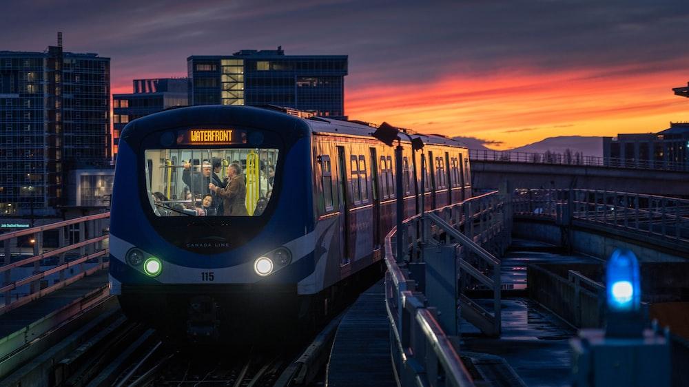 running train at night