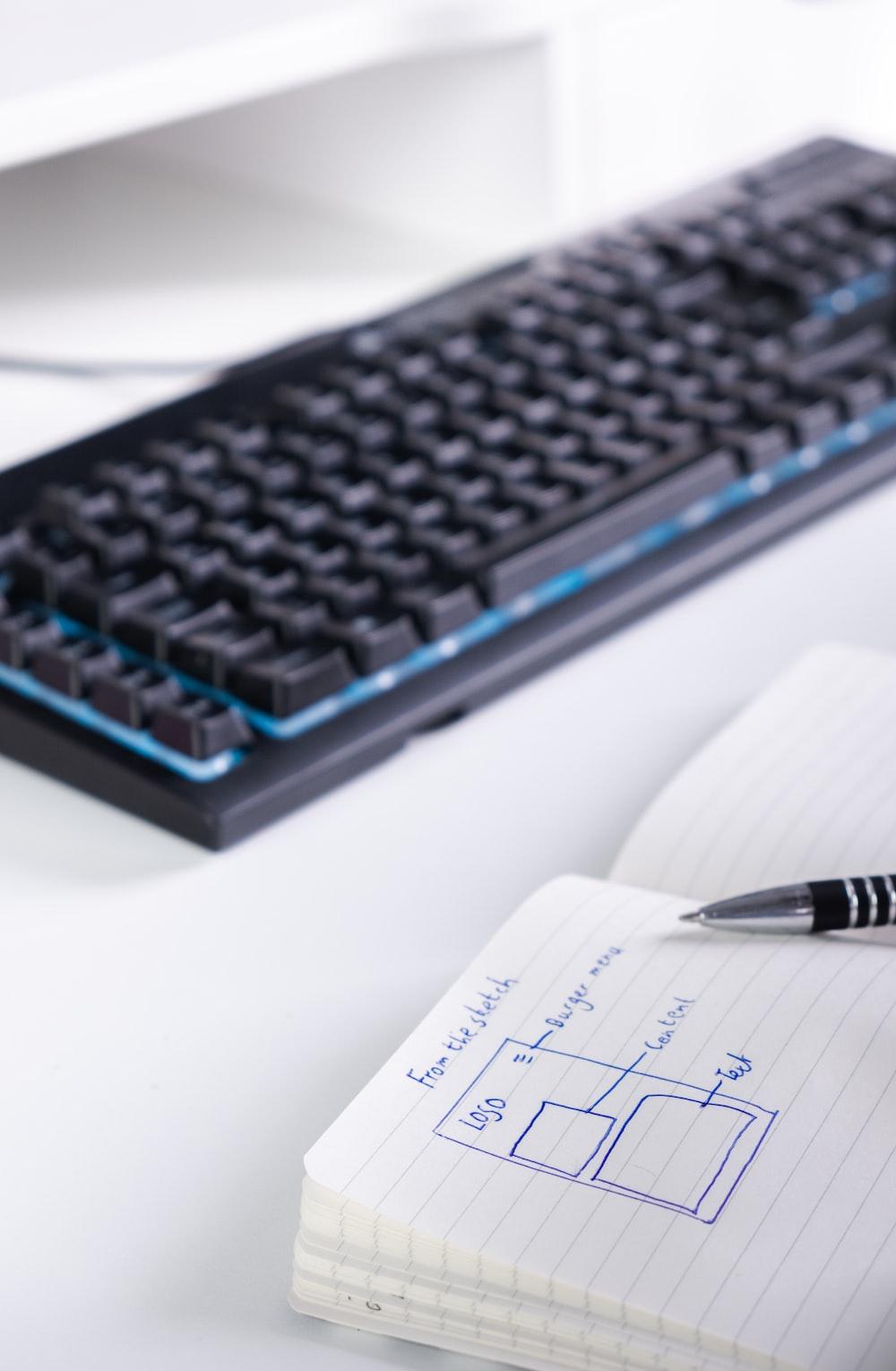 black corded keyboard