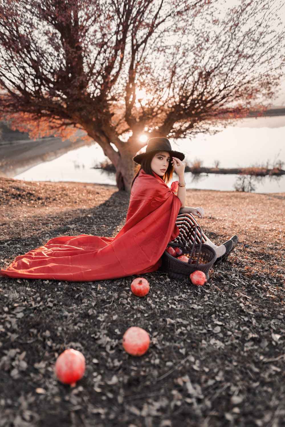woman sitting beside basket of apples and apples on ground
