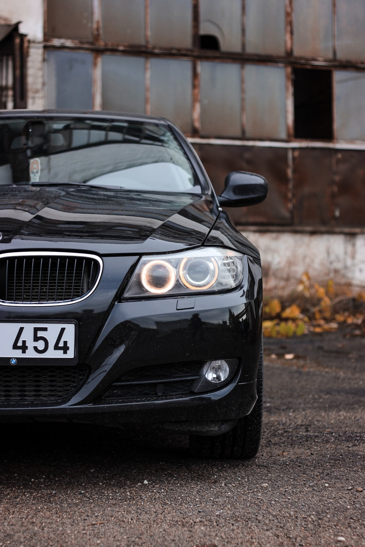 black car during day