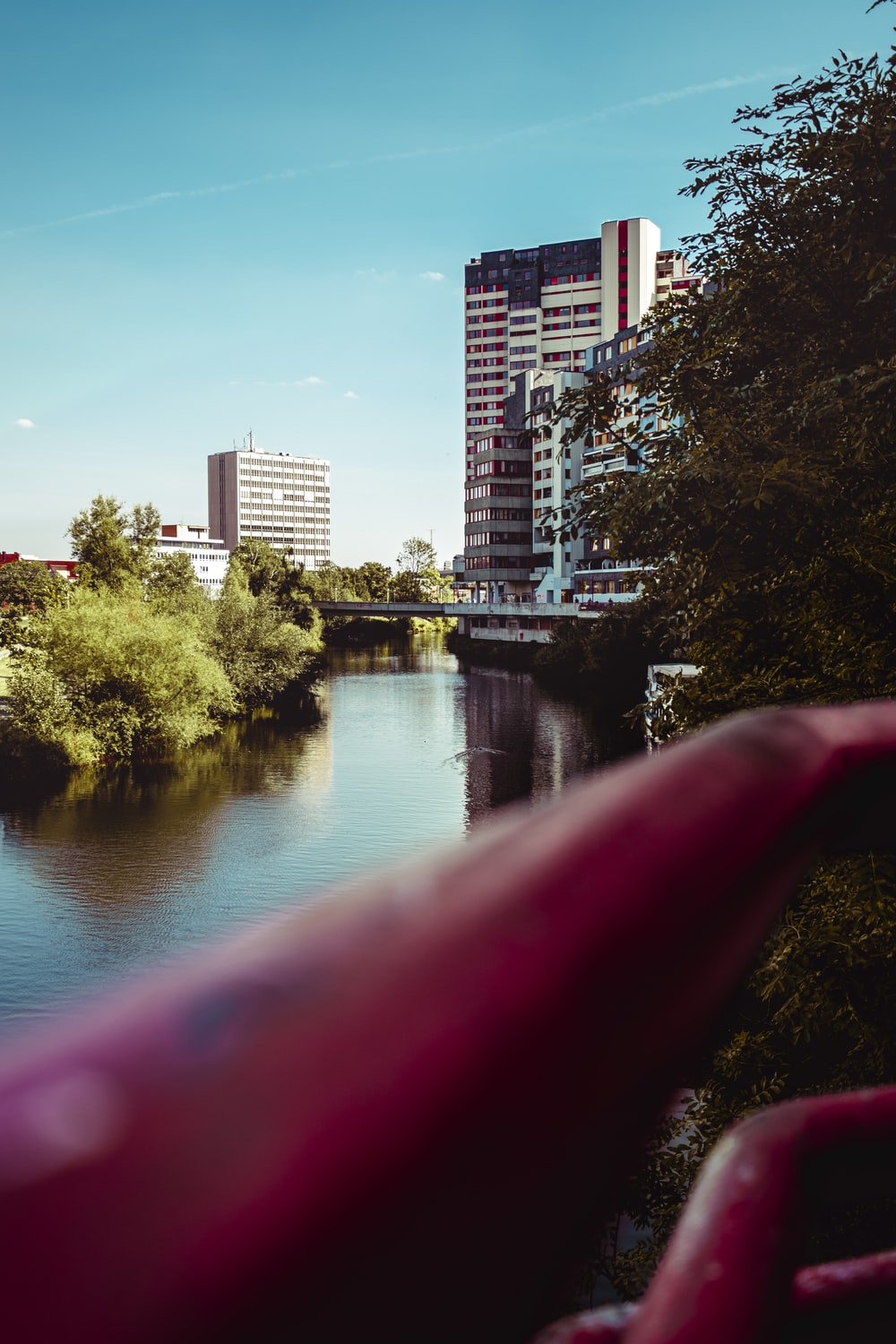 bridge, buildings, and trees during day