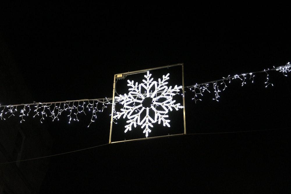 hanging LED snowflake turned on decor