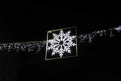 hanging led snowflake turned on decor snowflake teams background