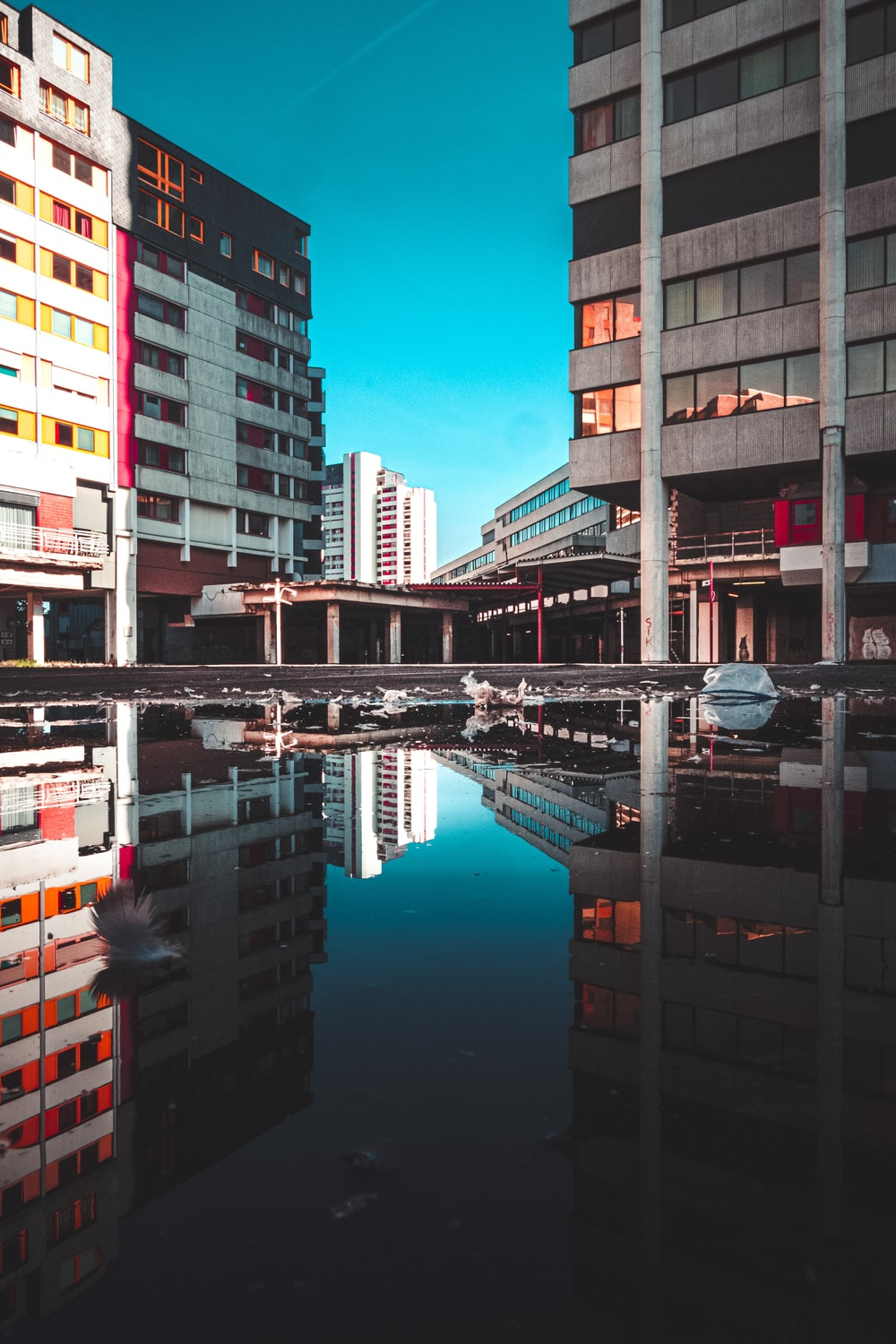 reflection of buildings on body of water during daytime