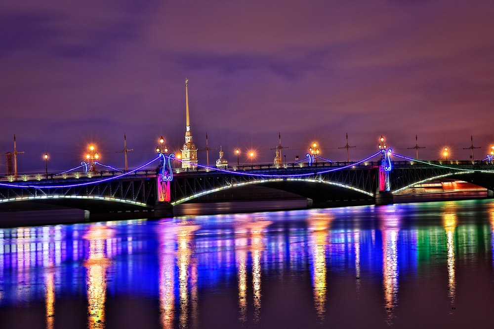 photography of lighted bridge during nighttime