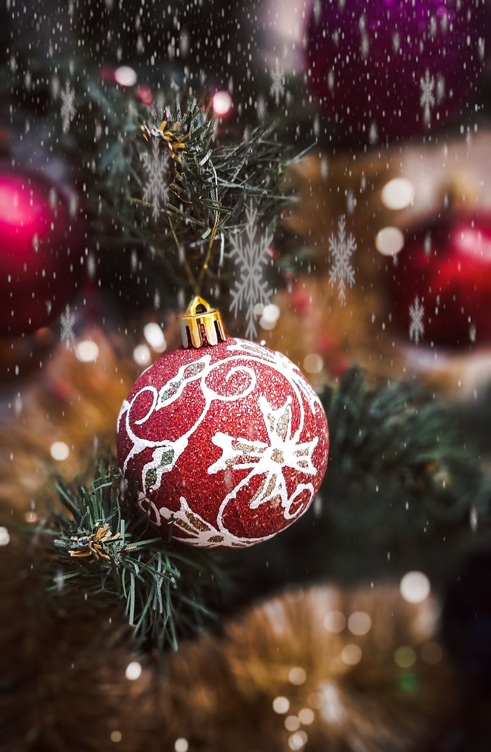 red and white bauble ball