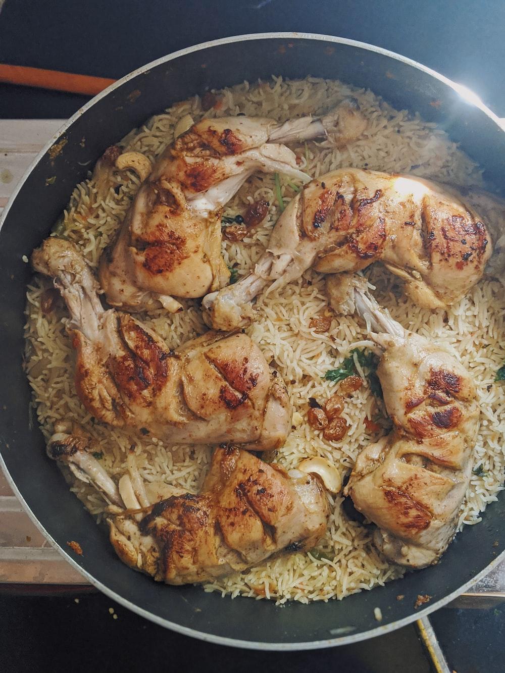 frying pan of chicken