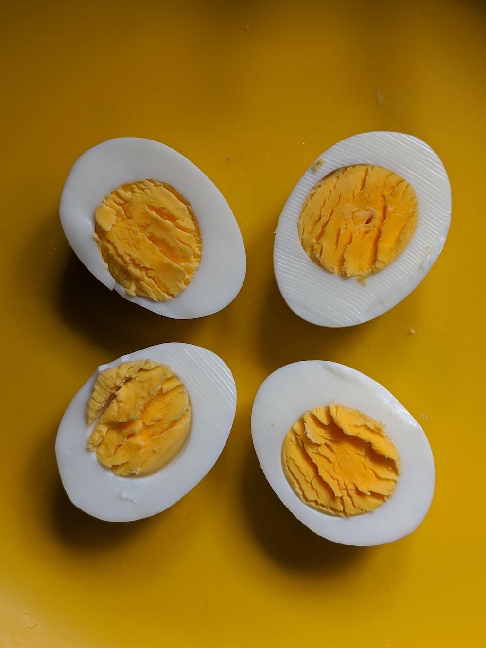 two sliced boiled eggs
