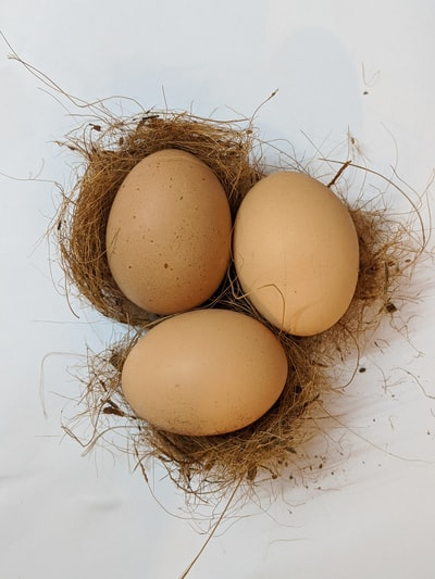 three poultry eggs