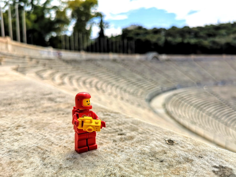 red and yellow Lego minifig toy\