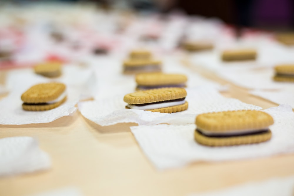 biscuit sandwiches on tissues