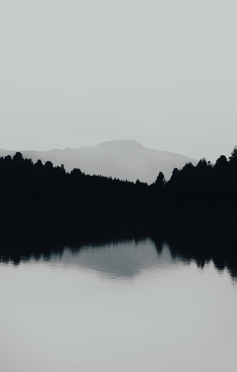 grayscale photography of body of water viewing mountain