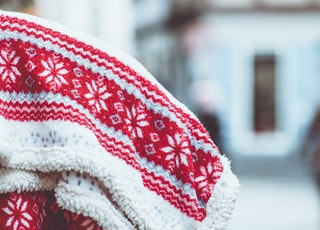 white and red snowflakes towel