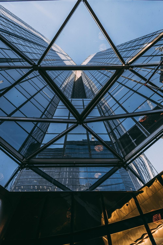 black metal framed glass building