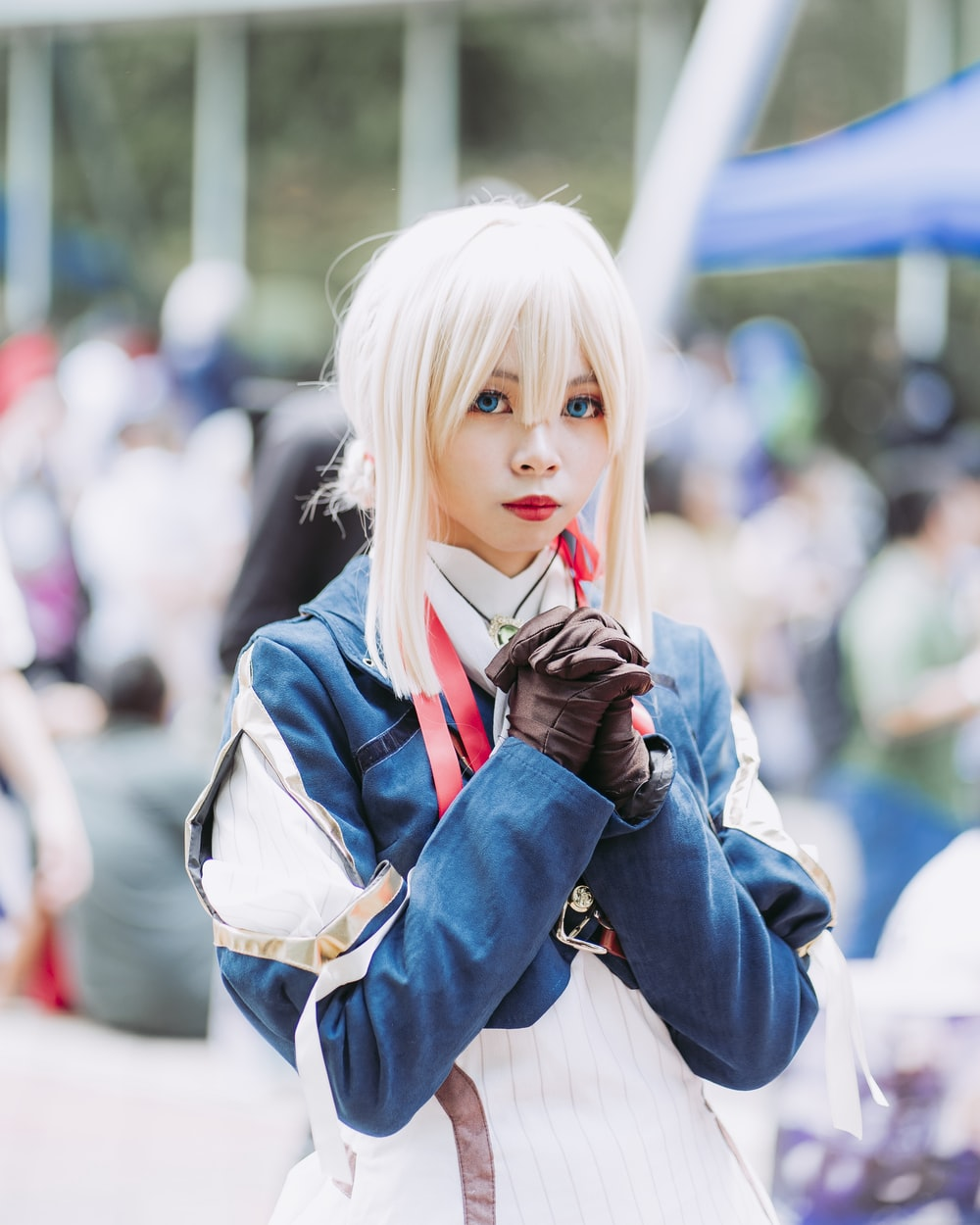 selective focus photography of cosplayer