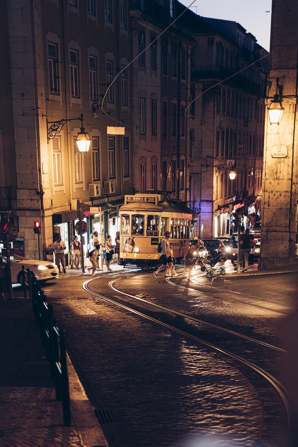 people near tram