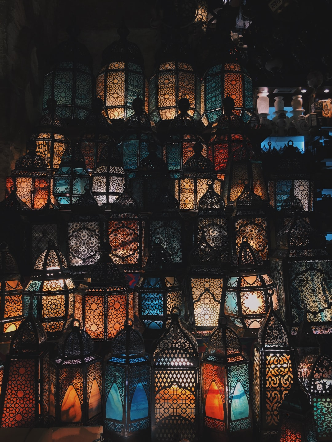Lanterns embedded with islamic art.