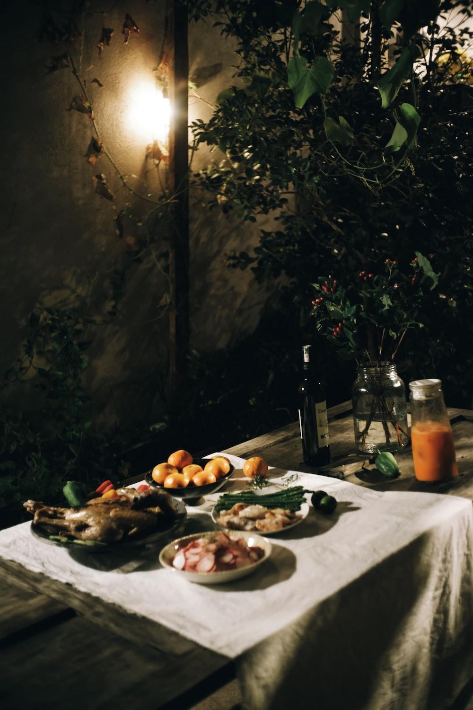 dish set on table
