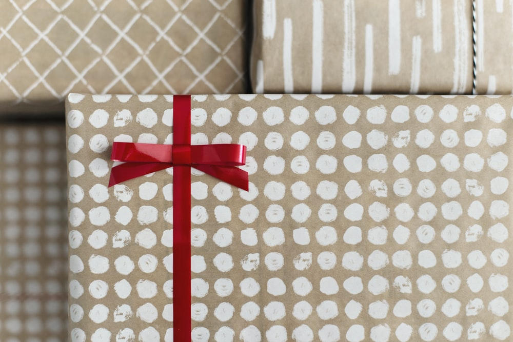 gold and white gift box
