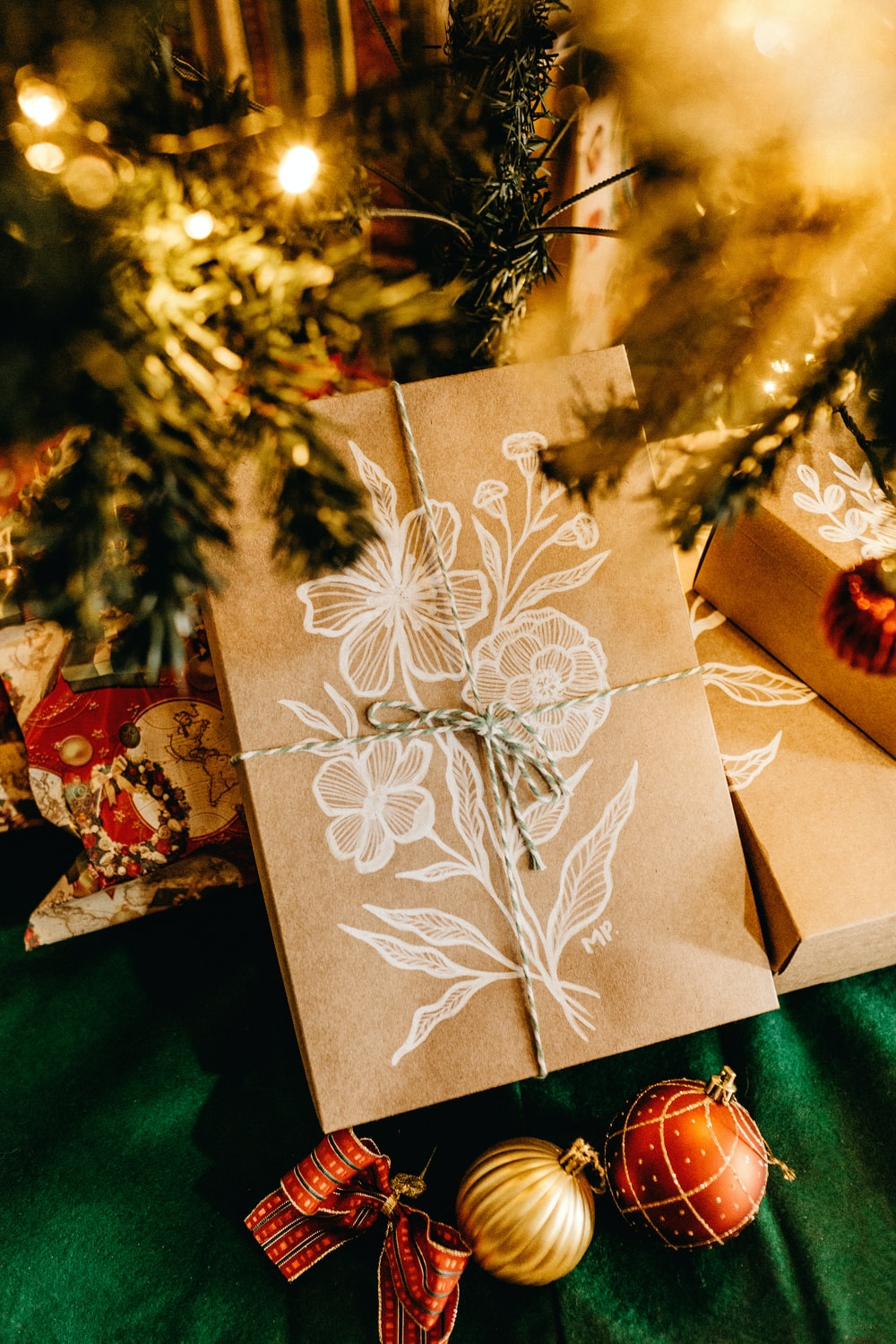 gift boxes under tree