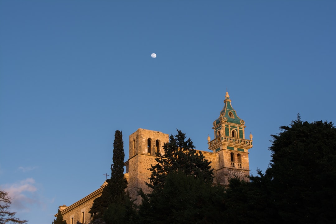 Sunset illuminating the church in Valldemossa