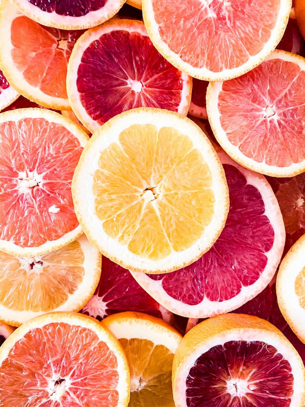 sliced grapefruits