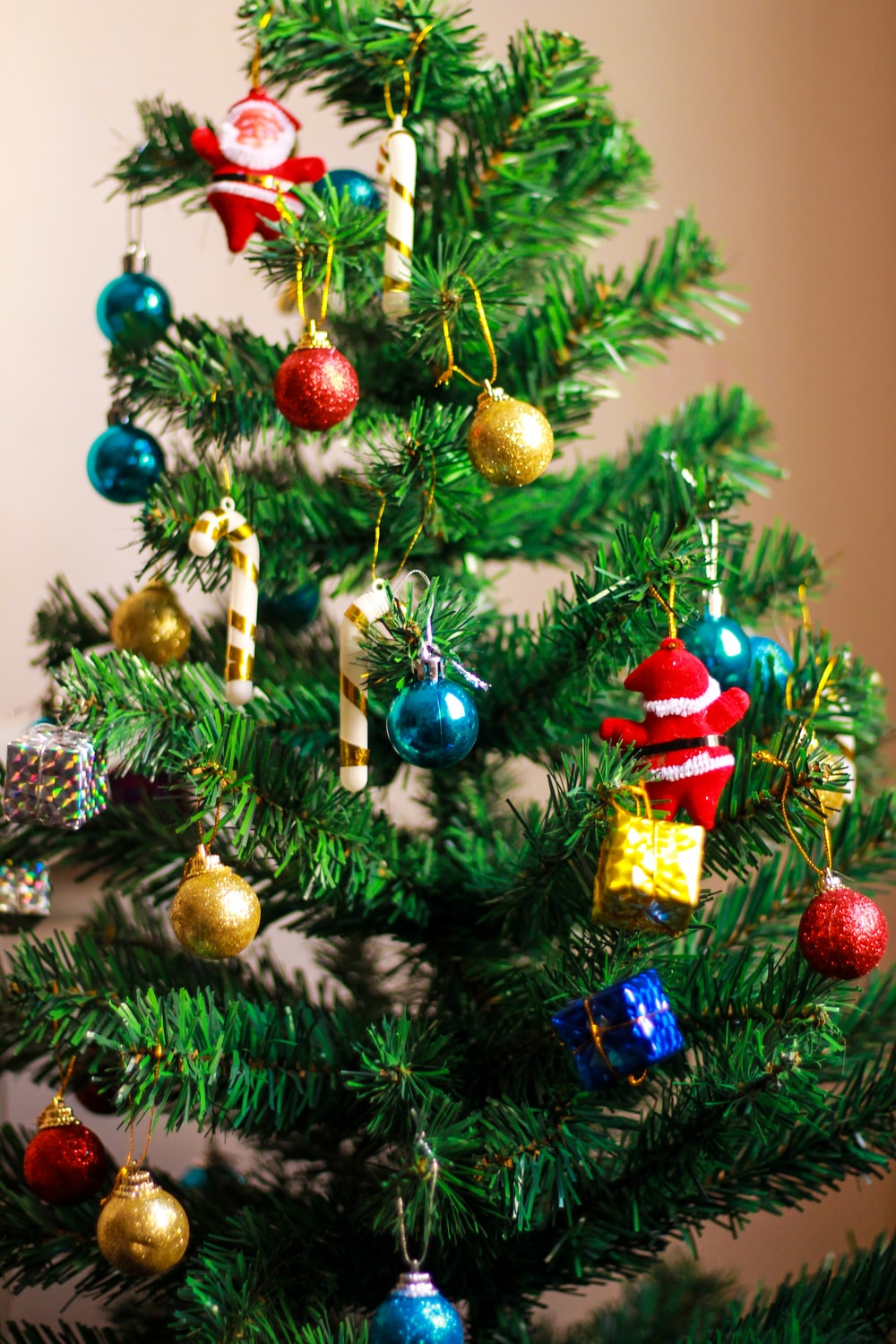 view of green Christmas tree with assorted-color decors