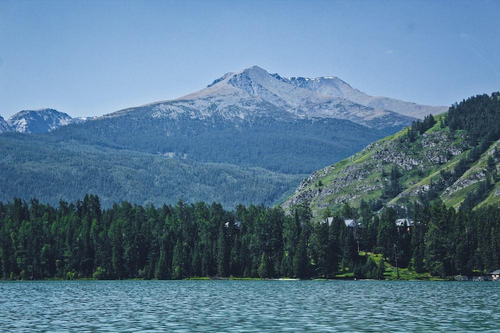 mountain background near lake