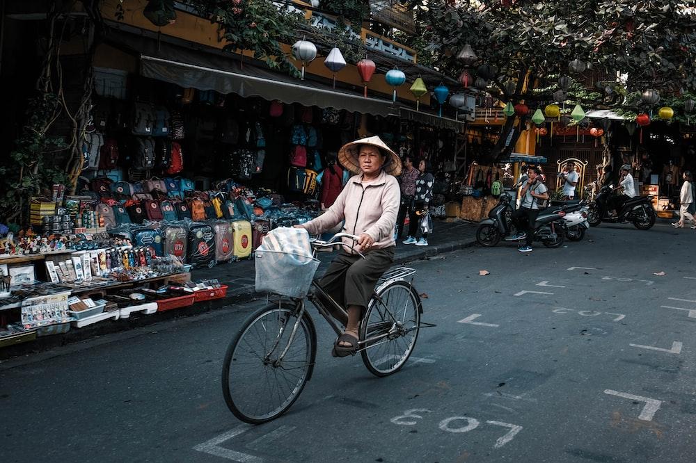 woman driving bike