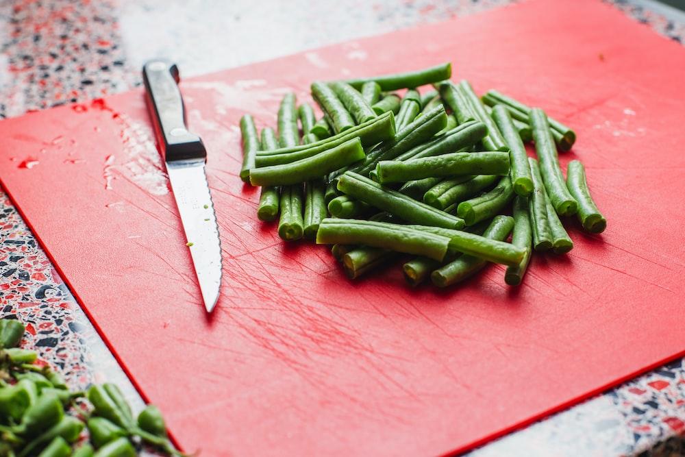 vegetable near knife