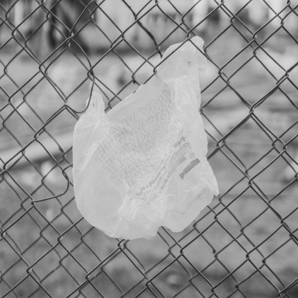 white plastic bag on chain link fence