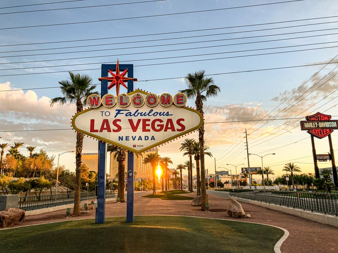 Las Vegas welcome sign in Nevada.