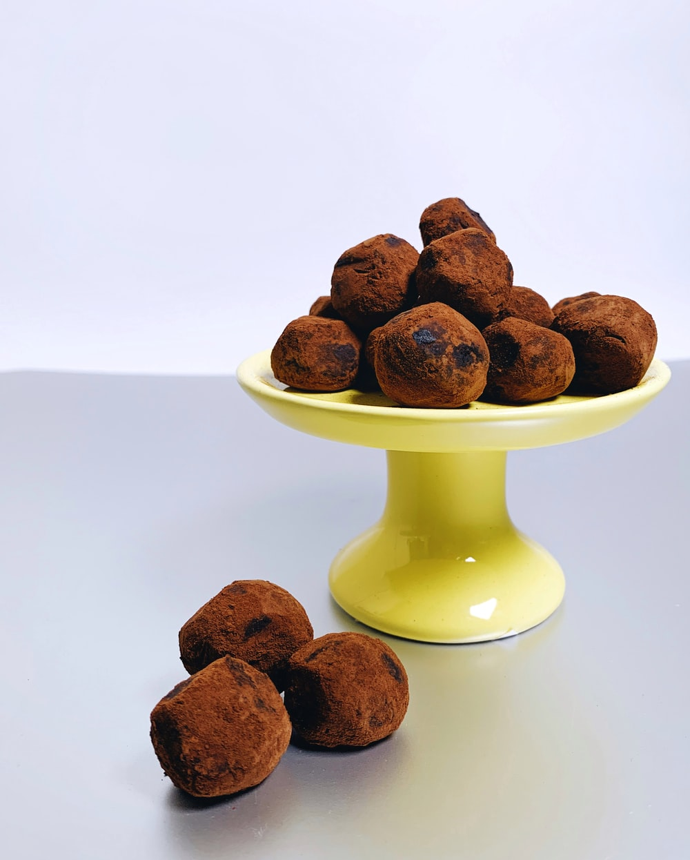 chocolate sweets on footed tray