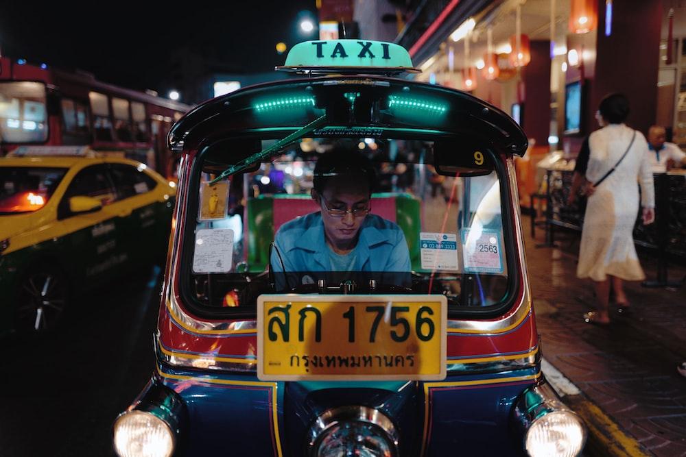 person riding taxi