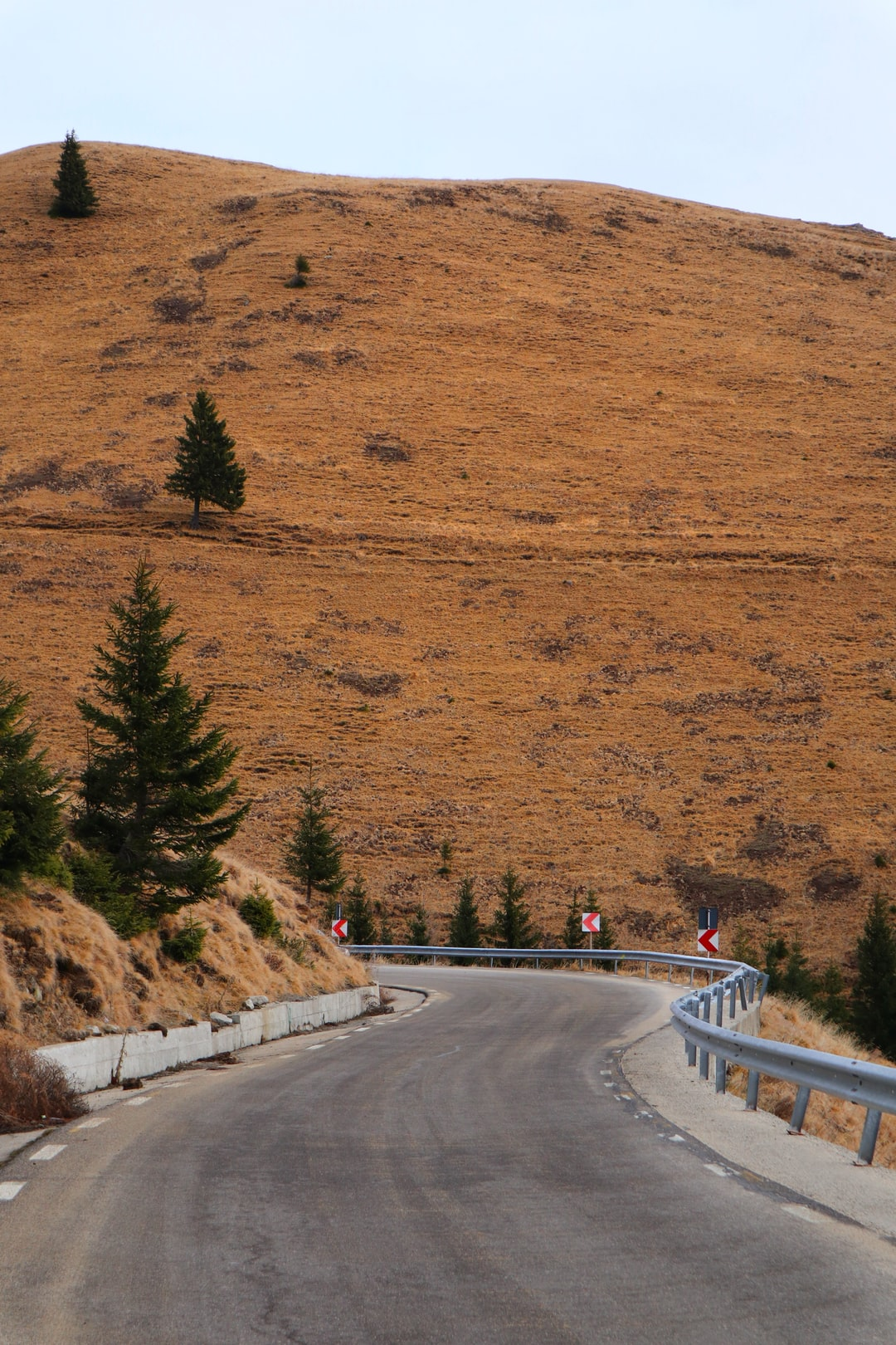 A winding road over the splendid Carpathians in Romania, overseen by brown hills and a few pine trees.