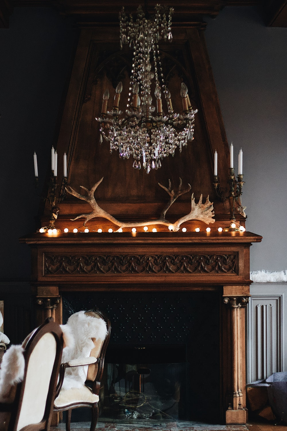 brown and black fireplace ]