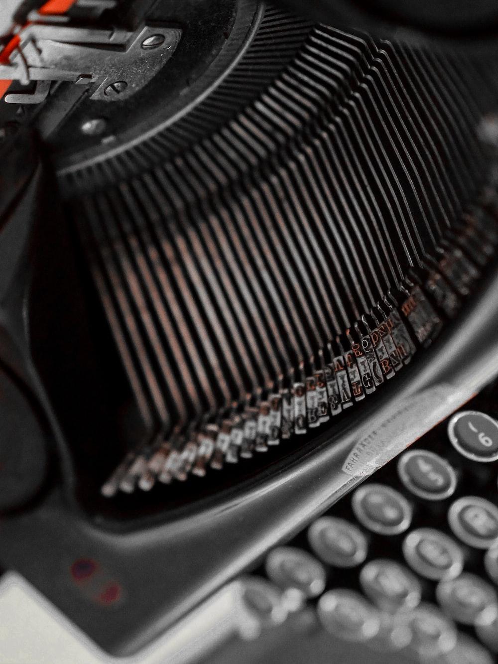 black and gray typewriter