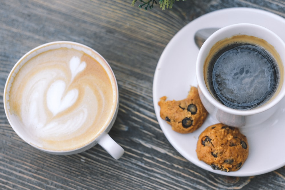 flat-lay photography of cup of coffee with chocolate chip cookies
