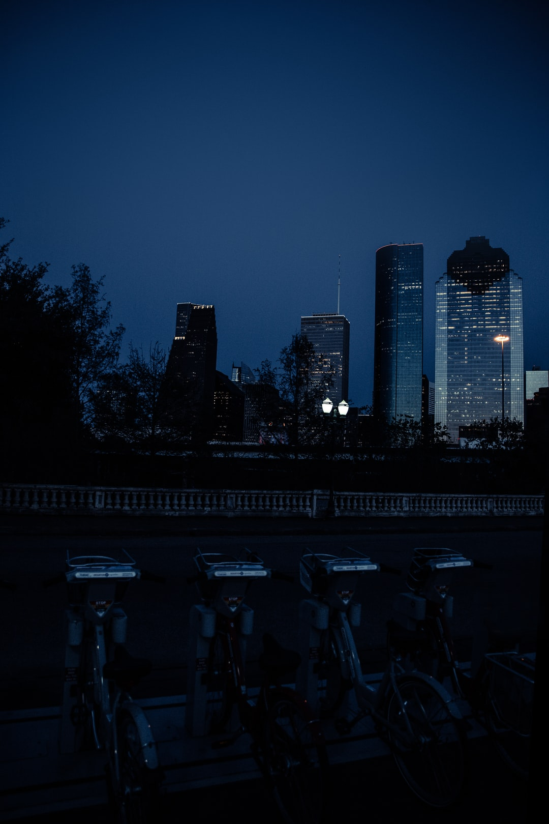 View of downtown Houston, TX from Buffalo Bayou Park.