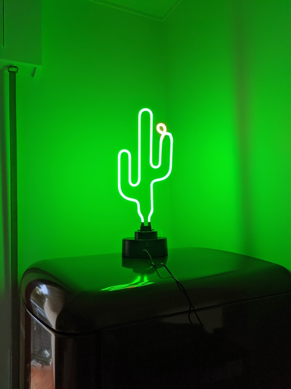 shallow focus photo of green cactus neon light