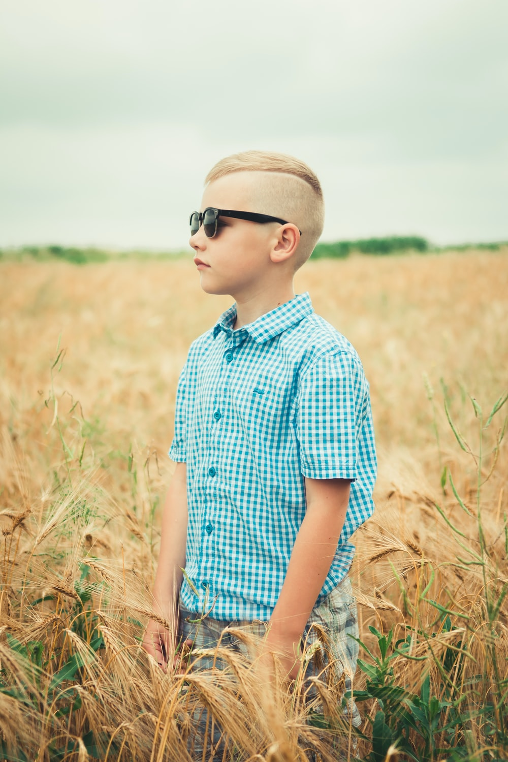 boy in blue and white collared shirt